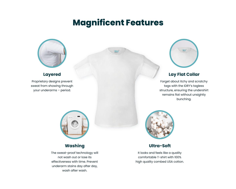 Sweatproof undershirt magnificent features