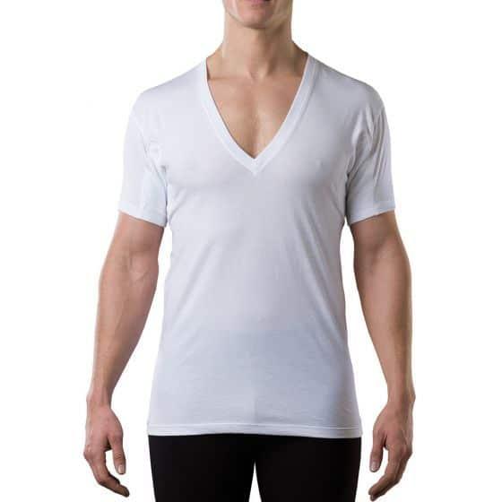 The TopDry Sweatproof men's deep V neck undershirt white